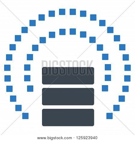Database Sphere Shield vector toolbar icon. Style is bicolor flat icon symbol, smooth blue colors, white background, square dots.