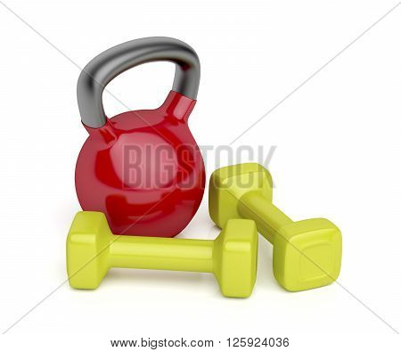 Kettlebell and a pair of dumbbells on white background, 3d illustration