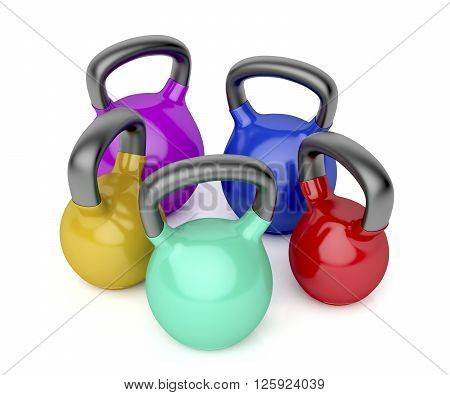 3d illustration of kettlebells of different size on white background