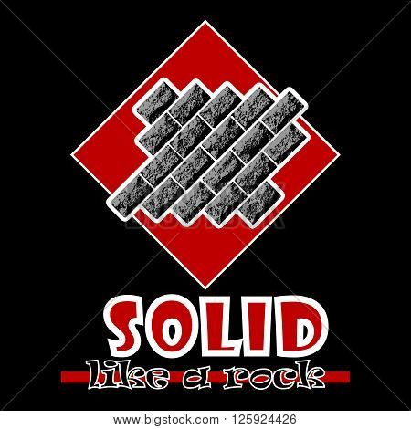 Solid like a rock. Abstract vector red style flat logo print bricks design. Used for print on T-shirts web logo icon decor. Vector illustration