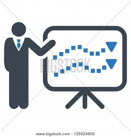 Trends Lecture vector toolbar icon. Style is bicolor flat icon symbol, smooth blue colors, white background, square dots.