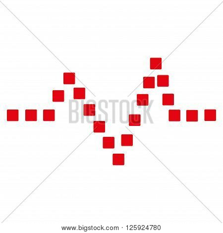 Pulse Chart vector toolbar icon. Style is flat icon symbol, intensive red color, white background, square dots.
