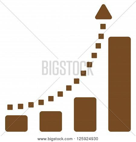 Bar Chart Trend vector toolbar icon. Style is flat icon symbol, brown color, white background, square dots.