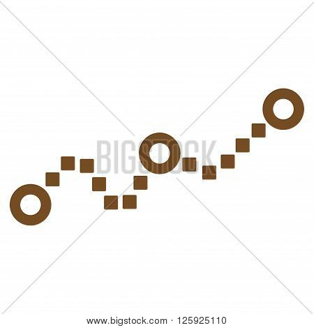 Dotted Chart vector toolbar icon. Style is flat icon symbol, brown color, white background, square dots.