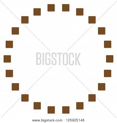 Dotted Circle vector toolbar icon. Style is flat icon symbol, brown color, white background, square dots.