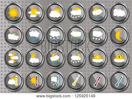 Set Of 24 Vector Weather Realistic Metallic Chrome Flat Round Icons On Modern Metal Background. Vect