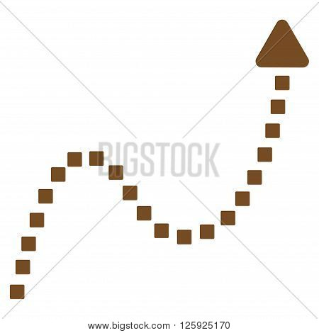 Dotted Curve Direction vector toolbar icon. Style is flat icon symbol, brown color, white background, square dots.