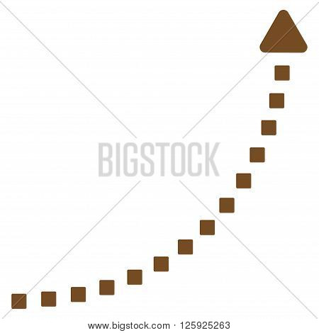 Dotted Growth Line vector toolbar icon. Style is flat icon symbol, brown color, white background, square dots.