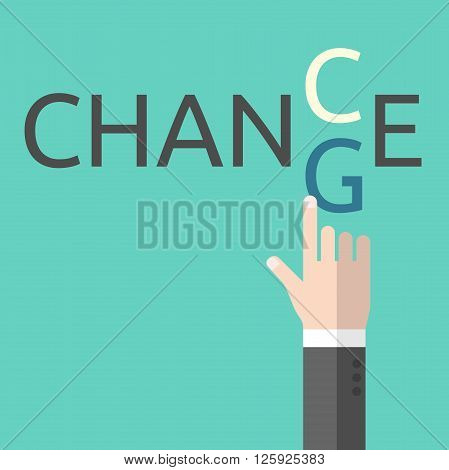 Change and chance. Hand changing letters C and G. Opportunity evolution solution decision courage business success and positive thinking EPS 8 vector illustration no transparency