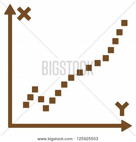 Function Plot vector toolbar icon. Style is flat icon symbol, brown color, white background, square dots.
