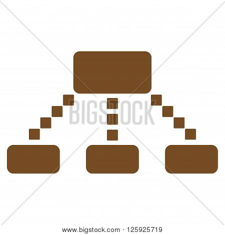 Hierarchy Scheme vector toolbar icon. Style is flat icon symbol, brown color, white background, square dots.