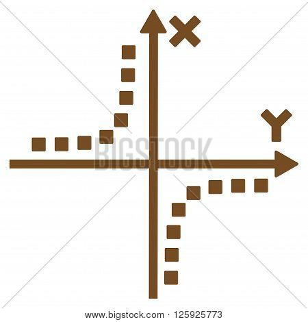 Hyperbola Plot vector toolbar icon. Style is flat icon symbol, brown color, white background, square dots.