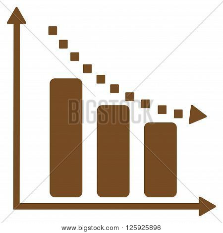 Negative Trend vector toolbar icon. Style is flat icon symbol, brown color, white background, square dots.