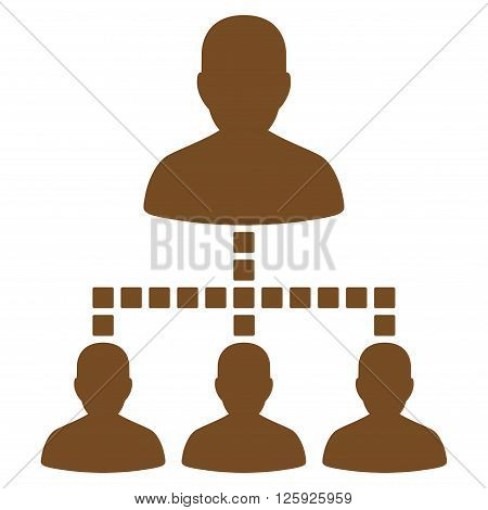 People Hierarchy vector toolbar icon. Style is flat icon symbol, brown color, white background, square dots.