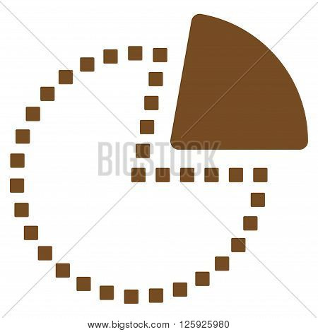 Pie Chart vector toolbar icon. Style is flat icon symbol, brown color, white background, square dots.