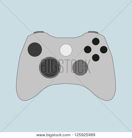 Gray gamepad with black buttons on a blue background