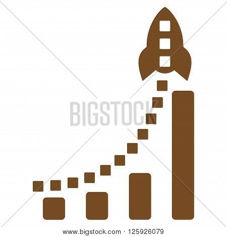 Rocket Business Bar Chart vector toolbar icon. Style is flat icon symbol, brown color, white background, square dots.