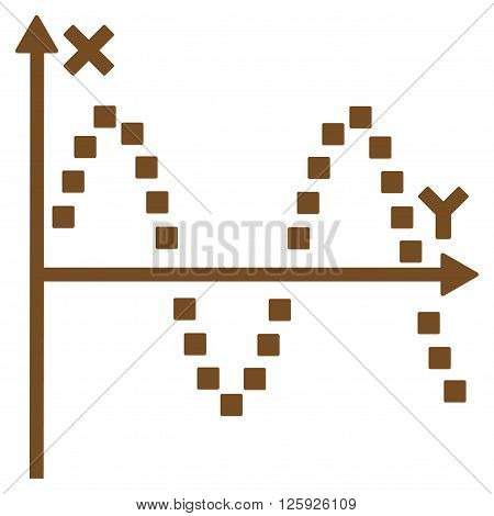 Sine Plot vector toolbar icon. Style is flat icon symbol, brown color, white background, square dots.