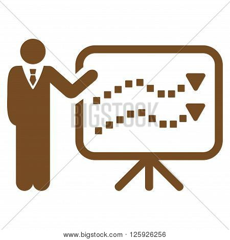 Trends Lecture vector toolbar icon. Style is flat icon symbol, brown color, white background, square dots.
