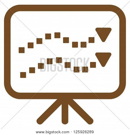 Trends Presentation vector toolbar icon. Style is flat icon symbol, brown color, white background, square dots.