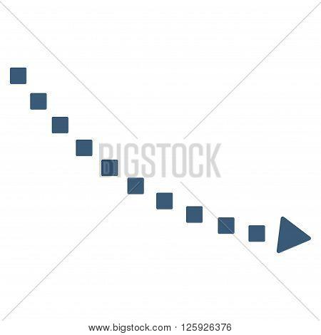 Dotted Decline Trend vector toolbar icon. Style is flat icon symbol, blue color, white background, square dots.