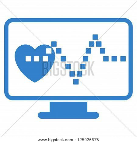 Cardio Monitoring vector toolbar icon. Style is flat icon symbol, cobalt color, white background, square dots.