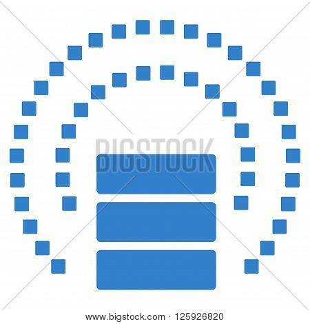 Database Sphere Shield vector toolbar icon. Style is flat icon symbol, cobalt color, white background, square dots.
