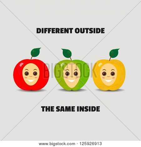 Motiviational quote banner. Different outside same inside. Apples of different colors are equal. Symbol of multicultural tolerance. Concept of different people equality unity. Vector illustration
