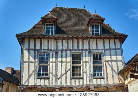 half-timbered tenement in old town of Troyes in France