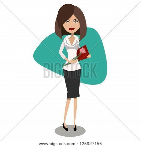 Cartoon vector female secretary, office worker character design. Beautiful attractive girl standing and receiving flowers and congratulations.