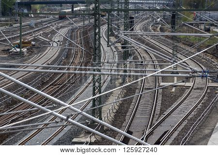Railroad, Rail Tracks, Railways And Power Supply Lines