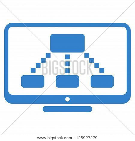 Hierarchy Monitor vector toolbar icon. Style is flat icon symbol, cobalt color, white background, square dots.