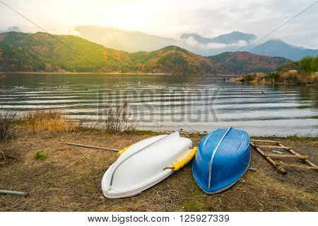 Boats on the lake Kawaguchiko,Japan