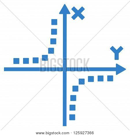 Hyperbola Plot vector toolbar icon. Style is flat icon symbol, cobalt color, white background, square dots.