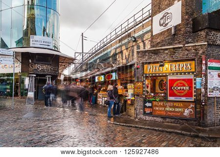 LONDON UK - 26TH MARCH 2015: A towards food stalls in Camden Lock during the day