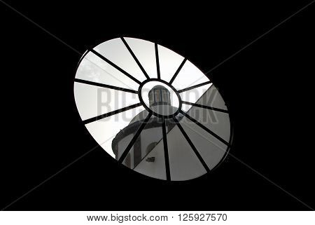 A church seen through a radial window