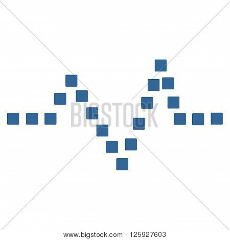 Pulse Chart vector toolbar icon. Style is flat icon symbol, cobalt color, white background, square dots.