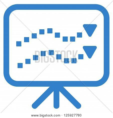 Trends Presentation vector toolbar icon. Style is flat icon symbol, cobalt color, white background, square dots.