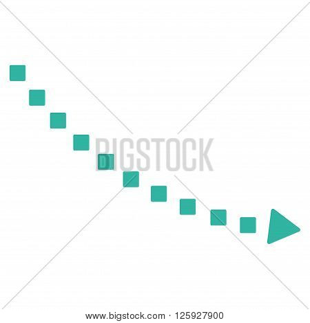 Dotted Decline Trend vector toolbar icon. Style is flat icon symbol, cyan color, white background, square dots.