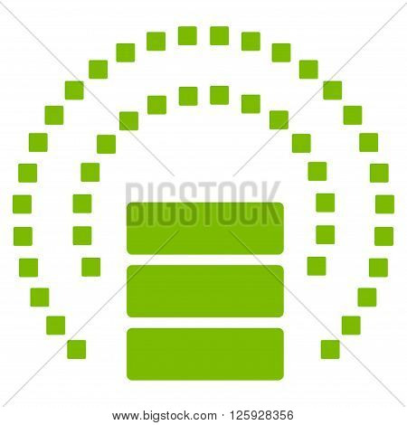 Database Sphere Shield vector toolbar icon. Style is flat icon symbol, eco green color, white background, square dots.