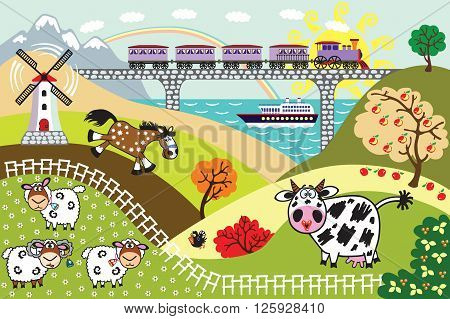countryside rural landscape. Cartoon farm animals in the pasture field, train on bridge and sailing cruise ship. Children illustration vector