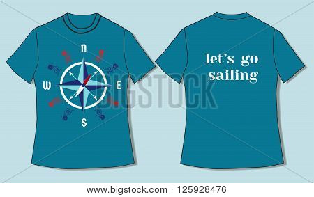 Flat identity mock-up template of T-shirt in nautical style motivating to sail. Idea for design of nautical t-shirt line for sailors sailing courses club sailing school. Vector Illustration.