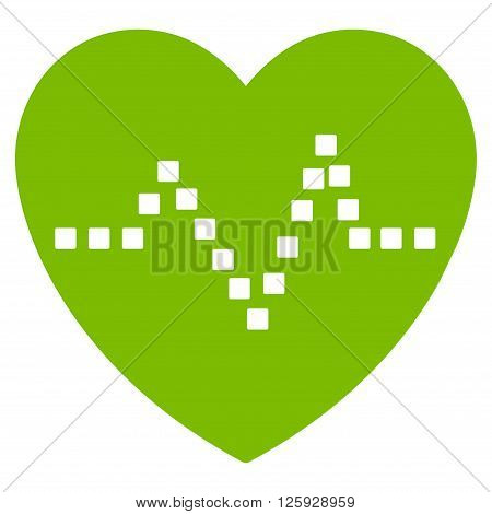 Heart Pulse vector toolbar icon. Style is flat icon symbol, eco green color, white background, square dots.
