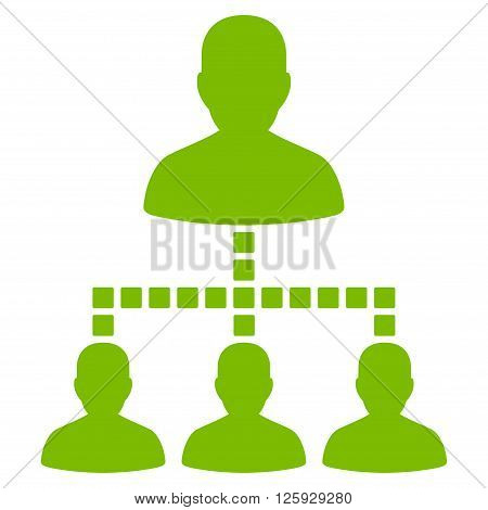 People Hierarchy vector toolbar icon. Style is flat icon symbol, eco green color, white background, square dots.