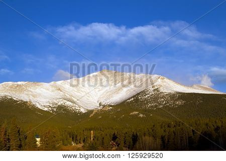Mt Meeker after a fresh fallen snow stands above the pine trees in Rocky Mountain National Park in Estes Park Colorado