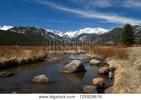 The Big Thompson River flows through Moraine Park in Rocky Mountain National Park