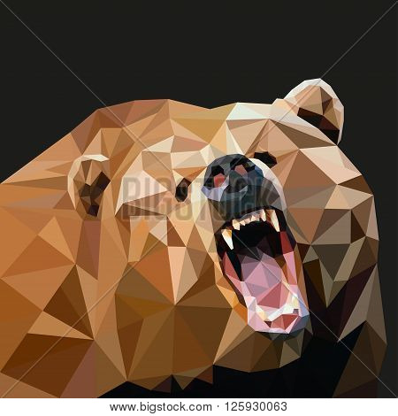 Brown Bear In The Style Of Triangulation On A Black Background. Vector Illustration