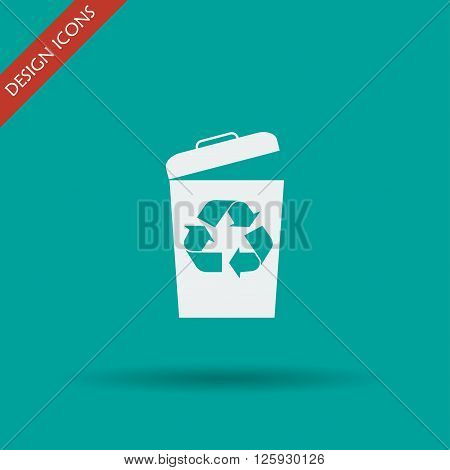 Trash can icon vector eps10 illustration flat