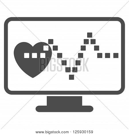Cardio Monitoring vector toolbar icon. Style is flat icon symbol, gray color, white background, square dots.