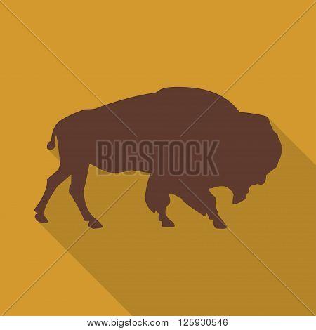 Icon bison on an orange background in the flat design. Vector illustration
